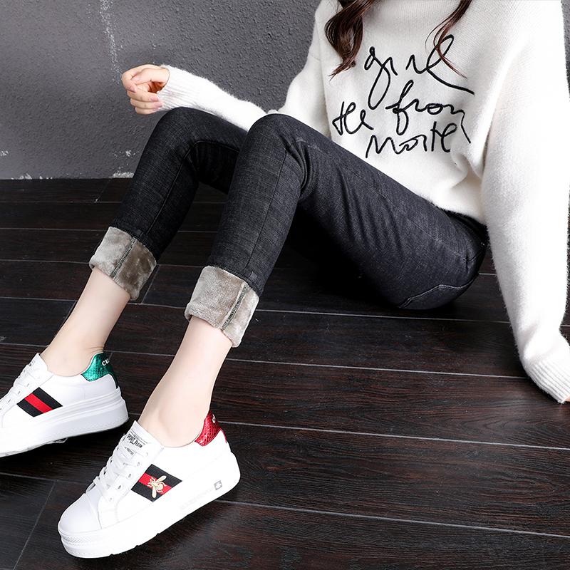 實拍 冬季加絨牛仔褲女高腰加厚保暖韓版彈力顯瘦外穿小腳褲子