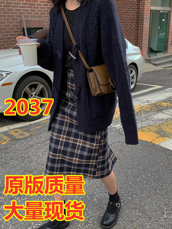 MIKASTUDIO小玉醬格子半身裙中長款秋冬女韓版高腰百搭開叉直筒裙