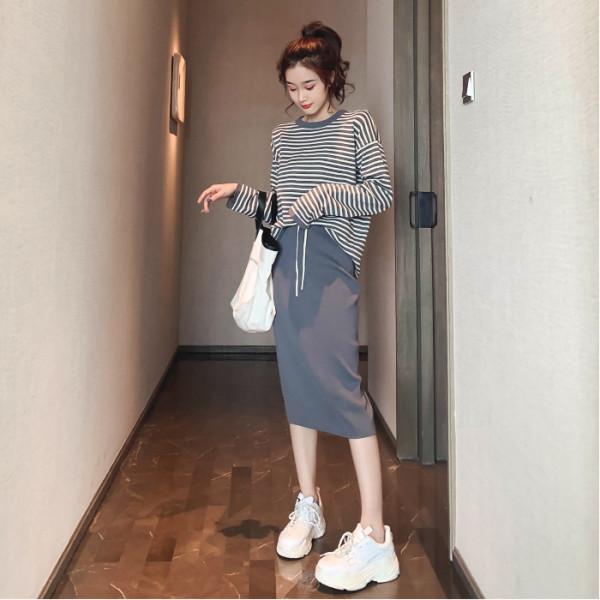 2019秋季新款韓版圓領休閑條紋長袖針織衫半身裙兩件套裝爆款女潮