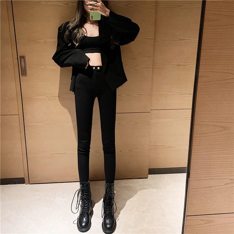 实拍实价 控价5 魔术黑色打底裤外穿小脚裤高腰显瘦紧身裤
