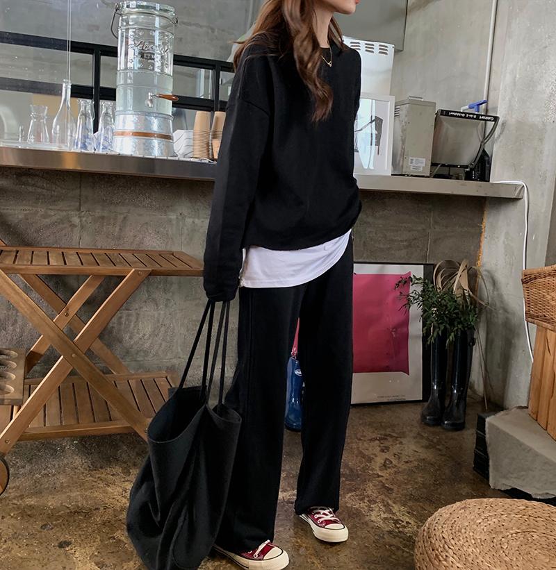 大西豪C12拿货!实拍实价韩国简约百搭酷帅宽松长袖卫衣+拖地长裤