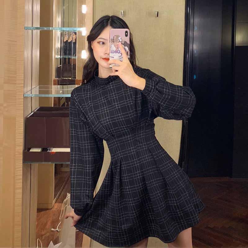 實拍#2019秋季連衣裙新款網紅長袖格子收腰復古裙子