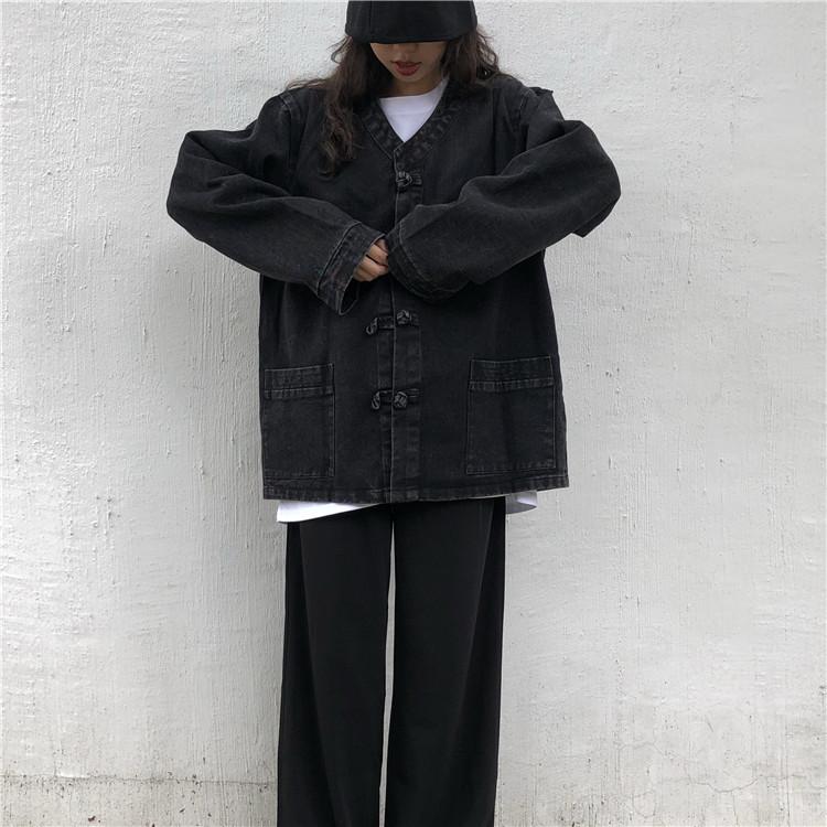 實拍實價~ 復古bf中國風黑色做舊牛仔外套女V領盤扣唐裝上衣