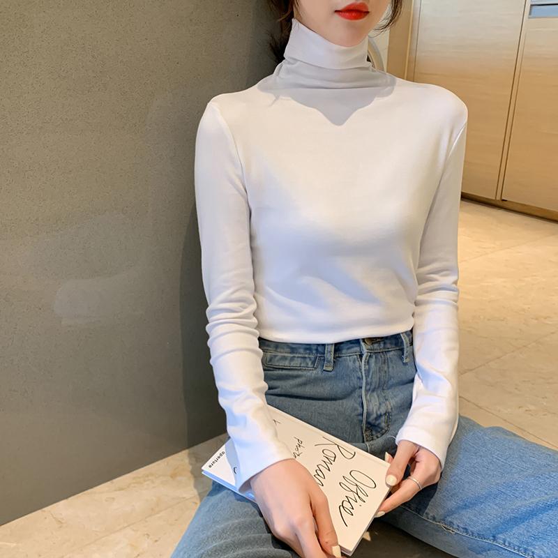 亚博娱乐平台入口现货100%棉秋冬2019新款高领针织衫女潮修身显瘦打底衫