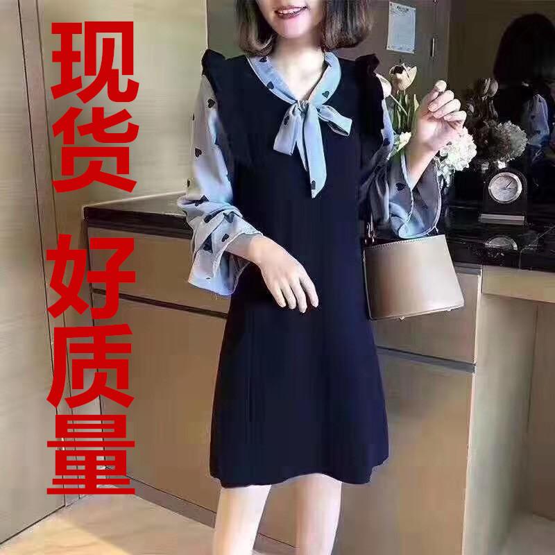 現貨~長款毛衣裙女裝過膝假兩件秋季2019年新款潮寬松針織連衣裙
