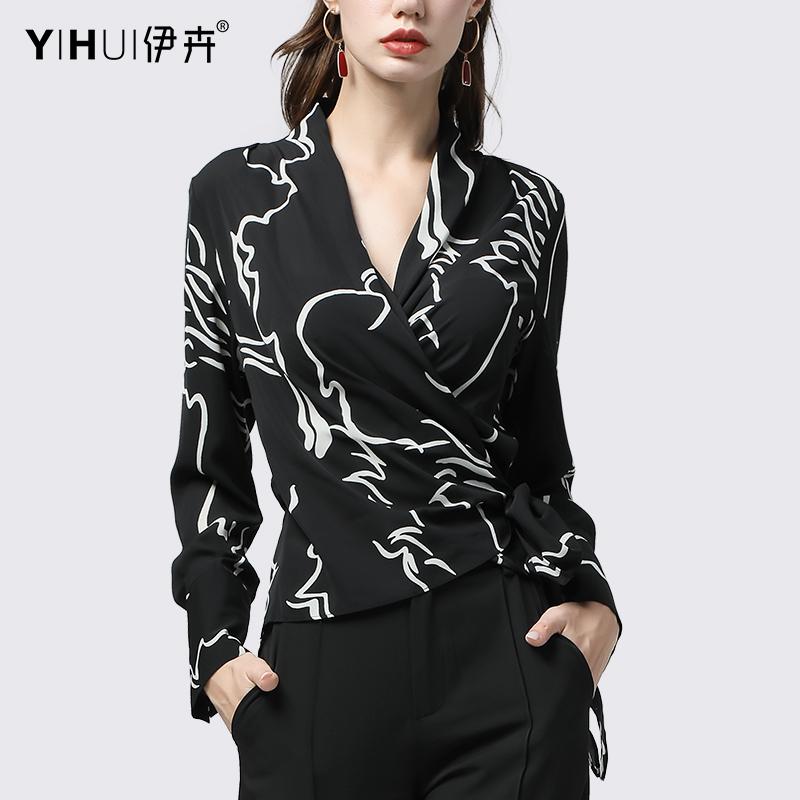 2019新款雪紡衫女裝初秋裝v領修身顯瘦上衣歐美洋氣長袖襯衫收腰