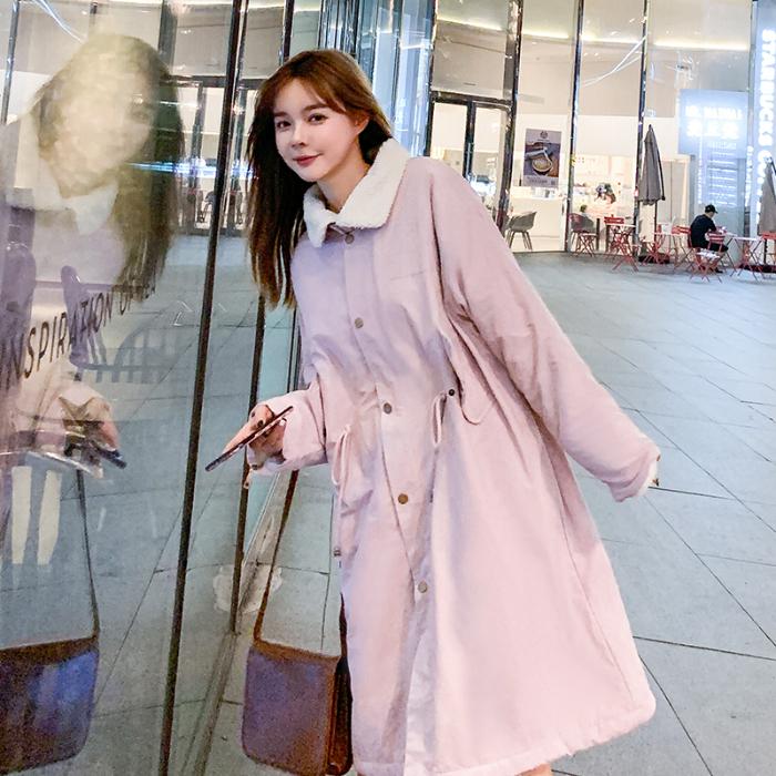 實拍羽絨服2019冬裝新款中長款棉服學生棉衣女長款過膝羊羔毛外套