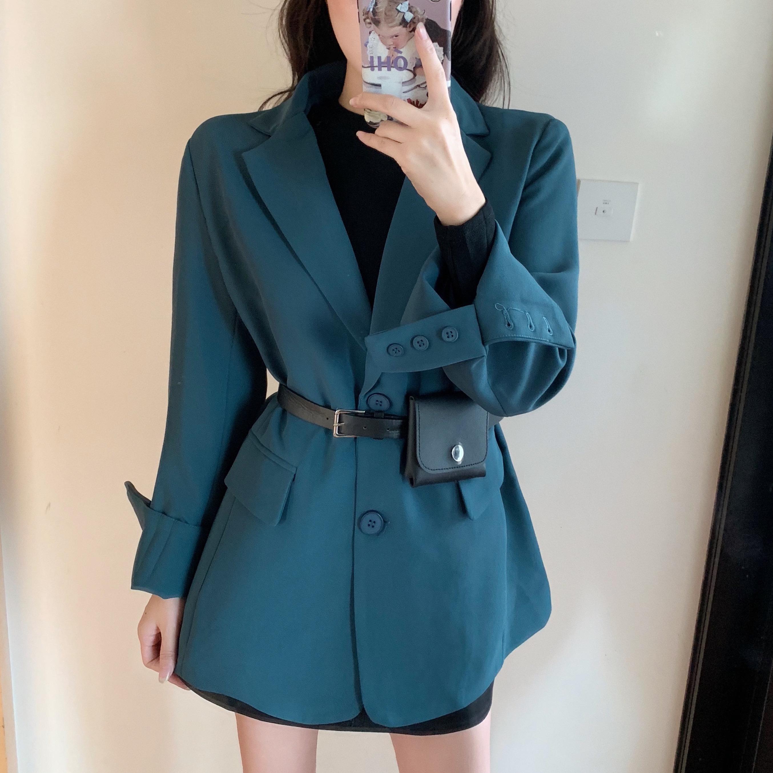 實拍實價# 2019秋裝新款 韓版氣質短款西服外套 藍色小西裝