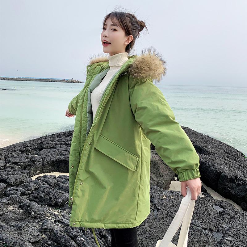 亚博娱乐平台入口19冬新款羽绒服学生中长款大毛领连帽韩版宽松加厚bf棉衣棉服