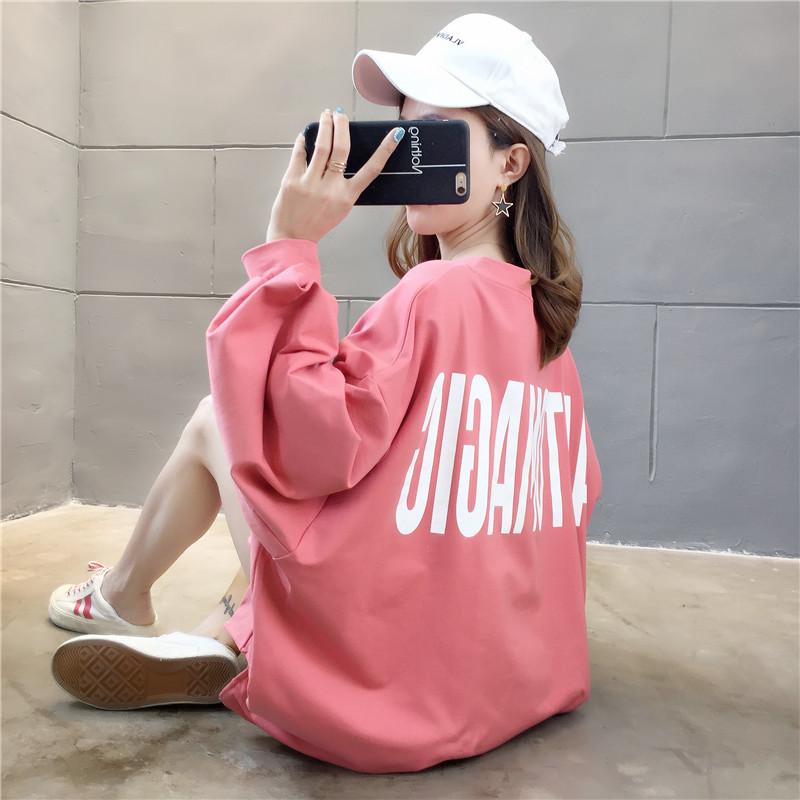 亚博娱乐平台入口棉质 春秋新款薄款韩版纯色V领前后字母印花宽松卫衣女上衣
