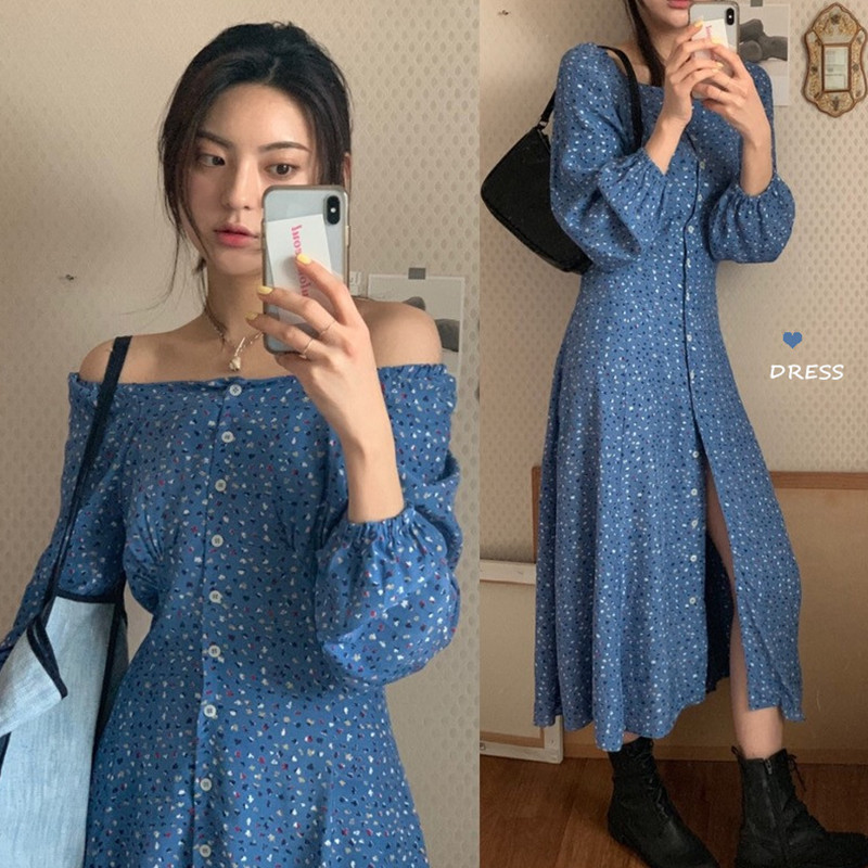 现货实价流行裙秋季新款韩版法式复古甜美衬衫式长款碎花连衣裙女