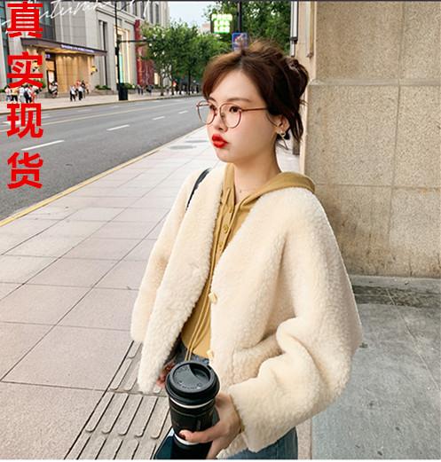 花栗鼠小姐 羊羔毛外套女寬松韓版短款秋季2019新款洋氣百搭上衣