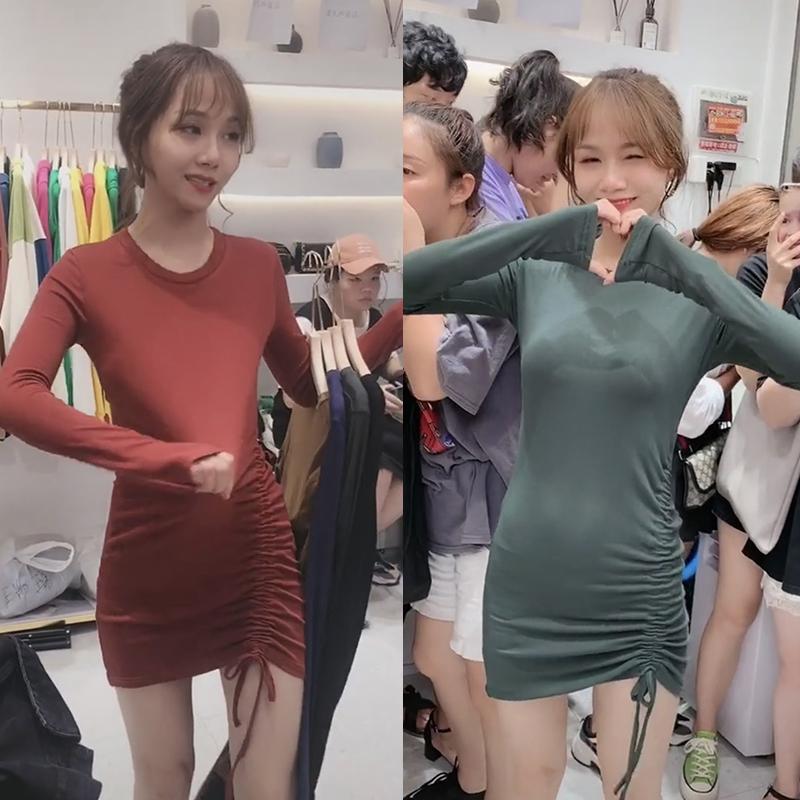 243#官图韩版2019新款设计感抽绳褶皱修身显瘦长袖T恤连衣裙ins潮