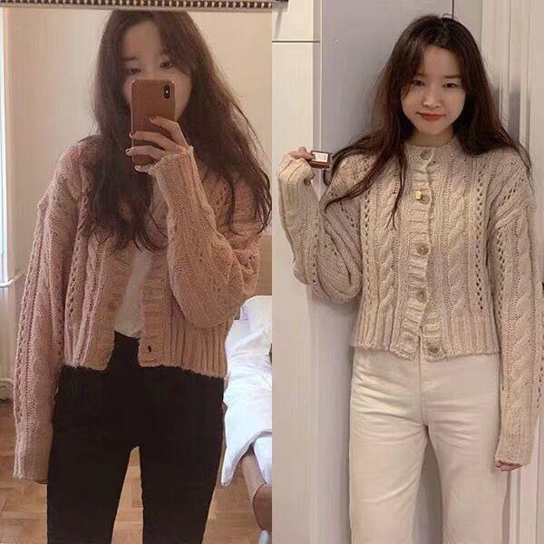 韓國代購19冬季新款甜美時尚純色麻花紋針織開襟衫