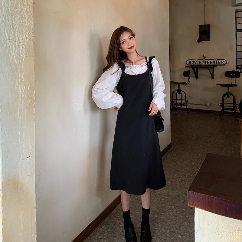 實拍實價韓國秋季法式蕾絲花邊方領襯衫+波浪邊背心連衣裙女套裝