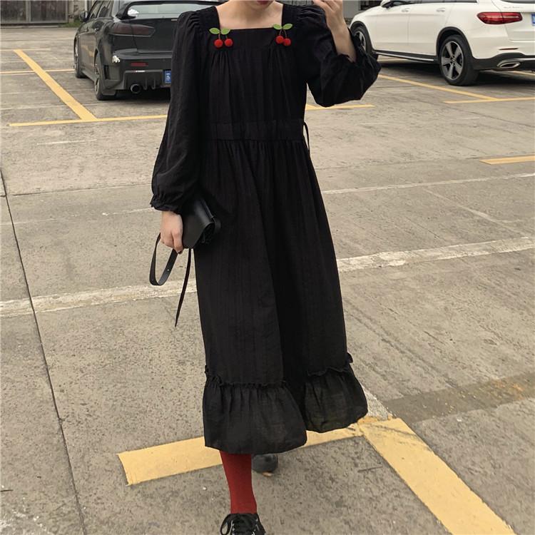 实拍 实价 高腰方领樱桃荷叶边气质长袖连衣裙女