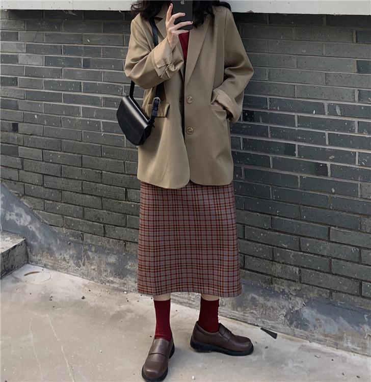 实拍 实价 高领长袖T恤+格纹高腰开叉半身裙+小众西装外套