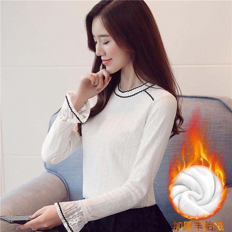 實拍蕾絲加絨打底衫韓版小衫白色鏤空修身喇叭袖蕾絲衫女長袖