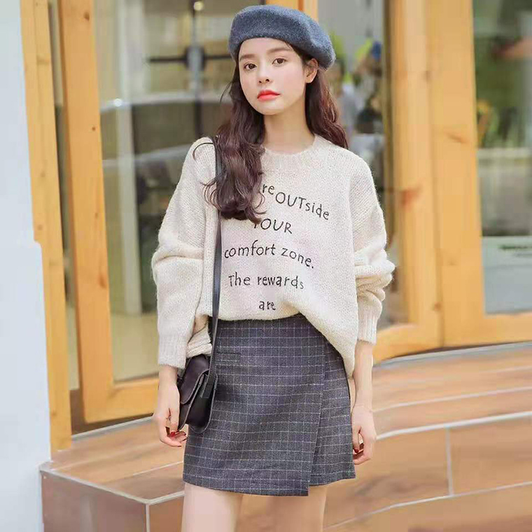網紅毛衣女2019新款時尚寬松慵懶風外窗韓版印花針織衫套頭上衣潮