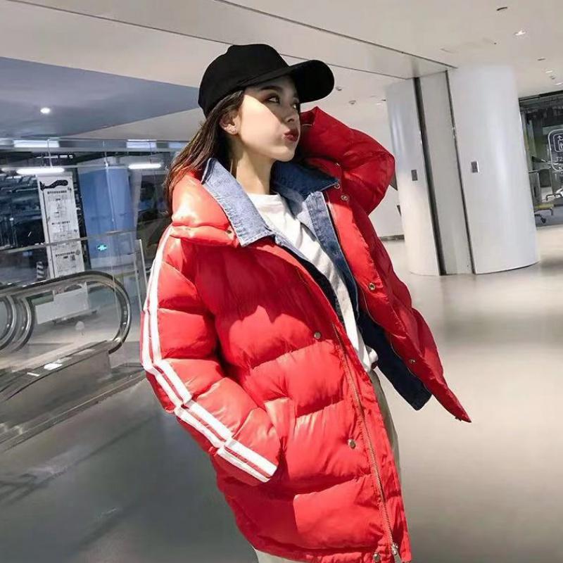 實拍2019新款假兩件套羽絨服牛仔拼接立領學生棉衣外套韓版女裝