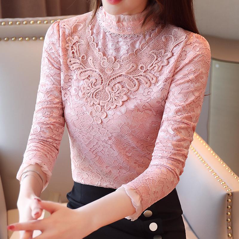 實拍2019秋冬裝新款加絨加厚蕾絲衫女長袖打底衫韓版修身立領上衣