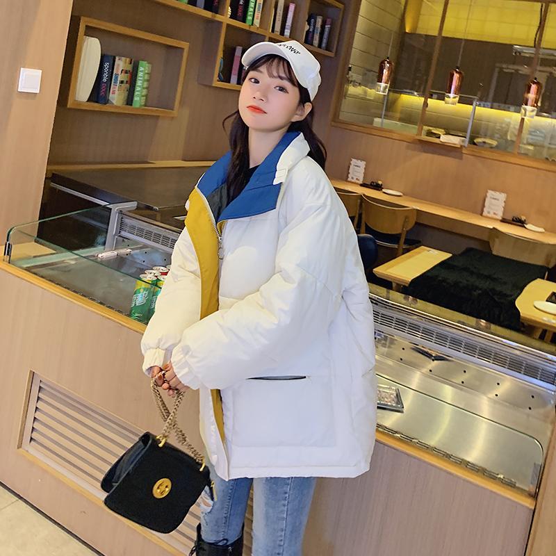 實拍冬季新款羽絨服女短款棉襖韓版立領學生寬松面包服bf棉衣外套