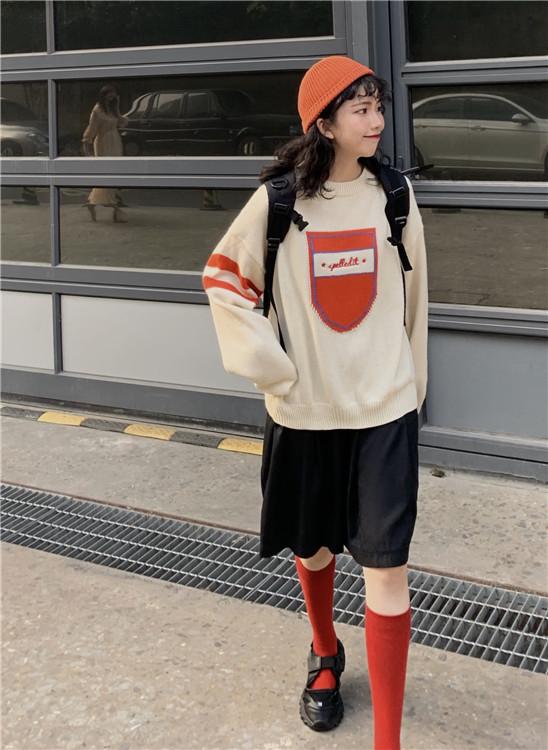 实拍 实价 秋冬款红口袋字母宽松套头针织毛衣