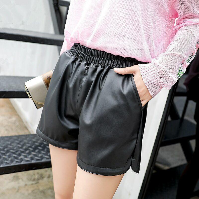 好质量 真PU 新款Pu皮裤女短裤韩版松紧腰显瘦大码外穿阔腿裤靴