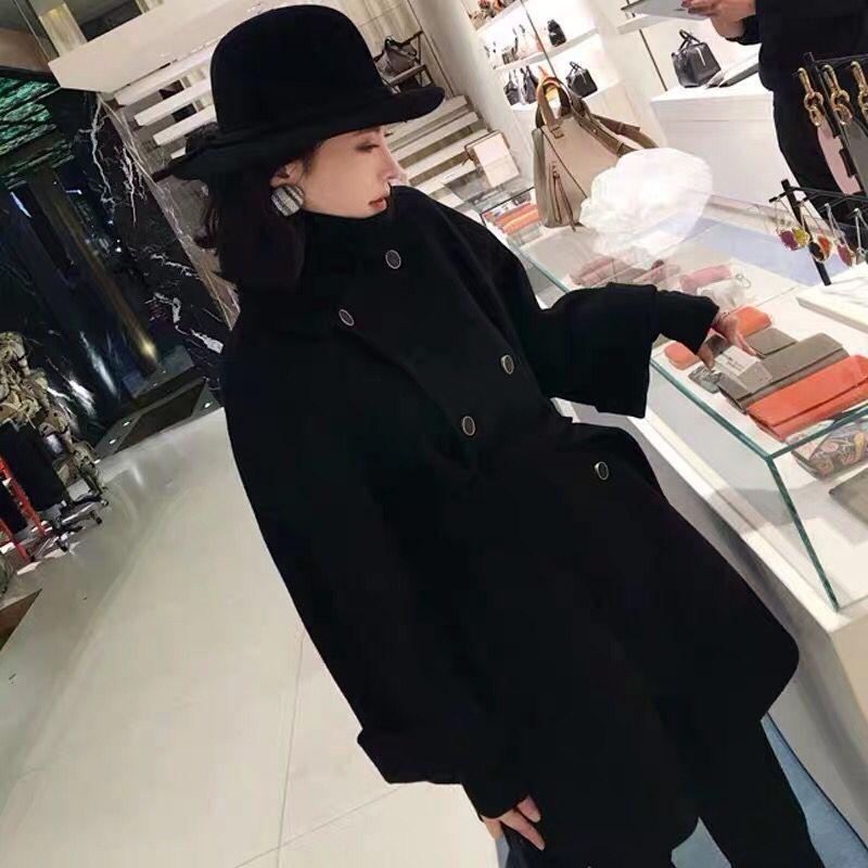 2019秋冬OL氣質呢子大衣女黑色呢子系帶中長款韓版外套寬松顯瘦