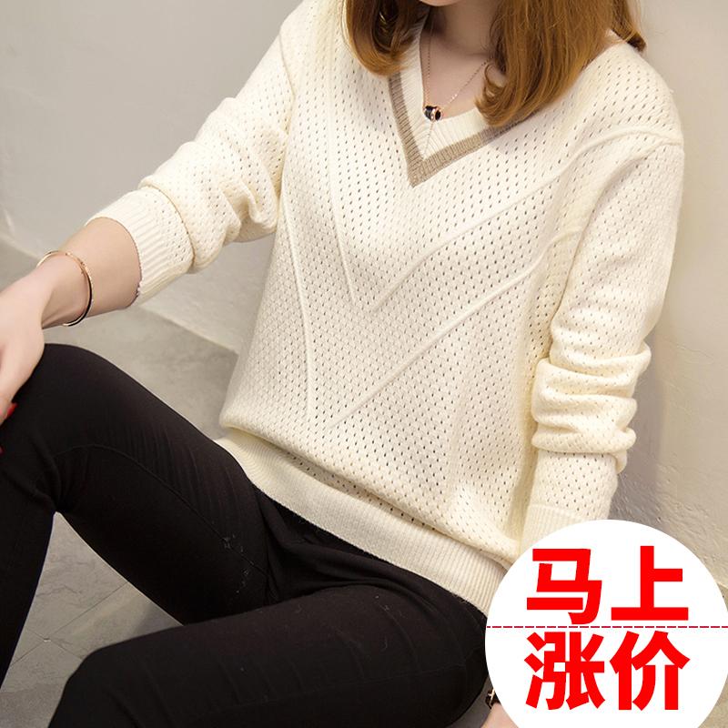 針織衫女套頭短款韓版寬松2019秋裝新款長袖女士V領小清新毛衣