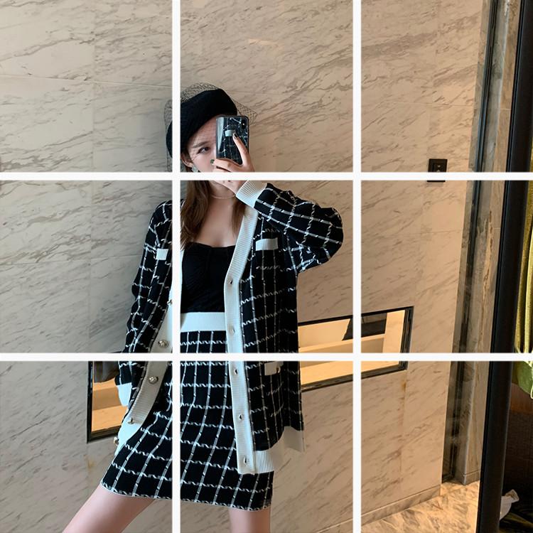 江奈兒同款小香風針織套裝復古格紋修身名媛開衫+包臀裙2019新款