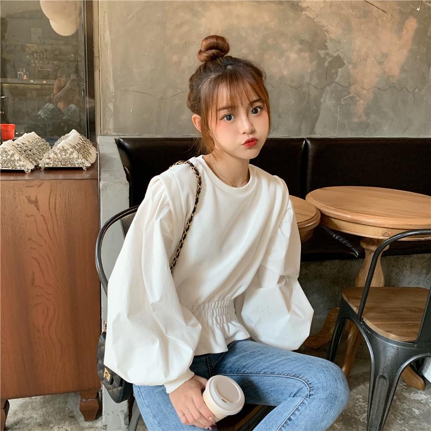 實拍實價 新款韓版短款假兩件衛衣荷葉邊收腰寬松設計感上衣
