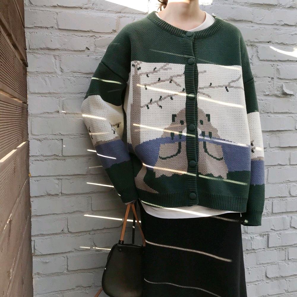 秋冬新款圓領排扣寬松網紅手繪風景畫圖案針織開衫女