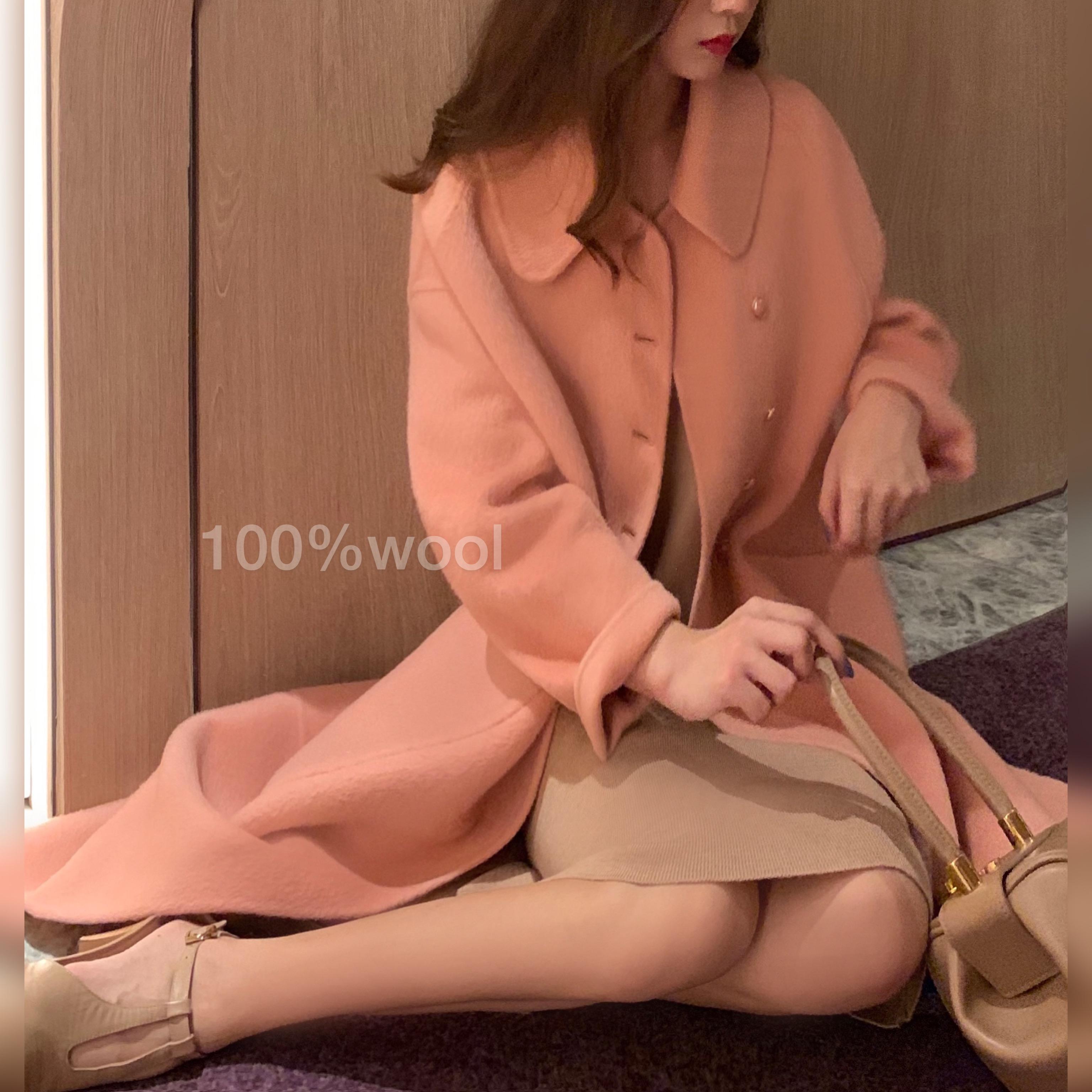 大喜2019新款國風復古氣質寬松雙面冬季毛呢外套女呢料長款大衣