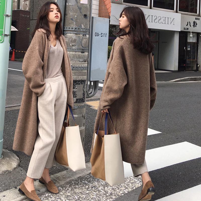 2019秋冬新款韩版很仙的慵懒风长款过膝宽松大毛衣针织开衫外套女
