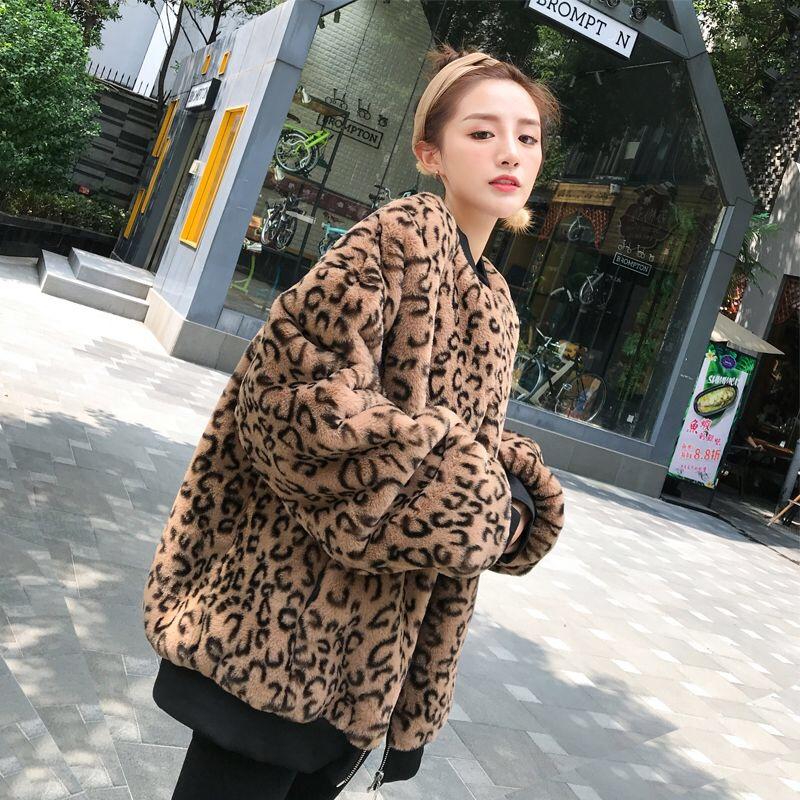 2019韓版時尚女裝豹紋皮草大衣秋冬夾克兔毛絨休閑寬松毛毛潮外套