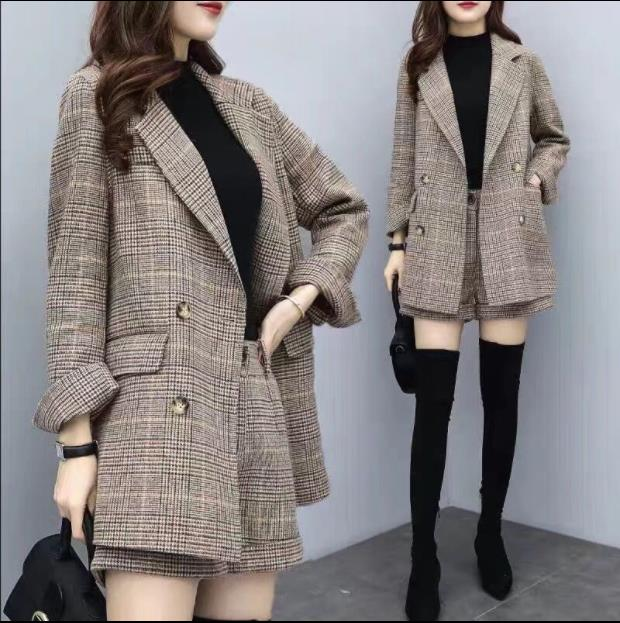 2019新款女裝秋冬兩件套褲毛呢外套千鳥格西裝短褲休閑時尚套裝女