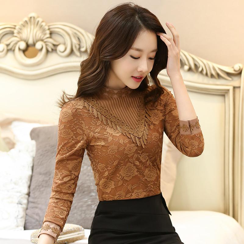 實拍8040#加絨加厚蕾絲衫秋冬新款上衣韓版立領小衫長袖女打底衫