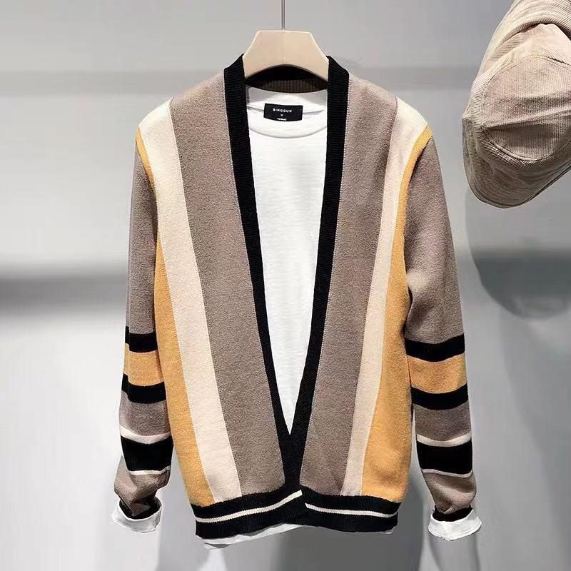 男士開衫條紋針織毛衣外套
