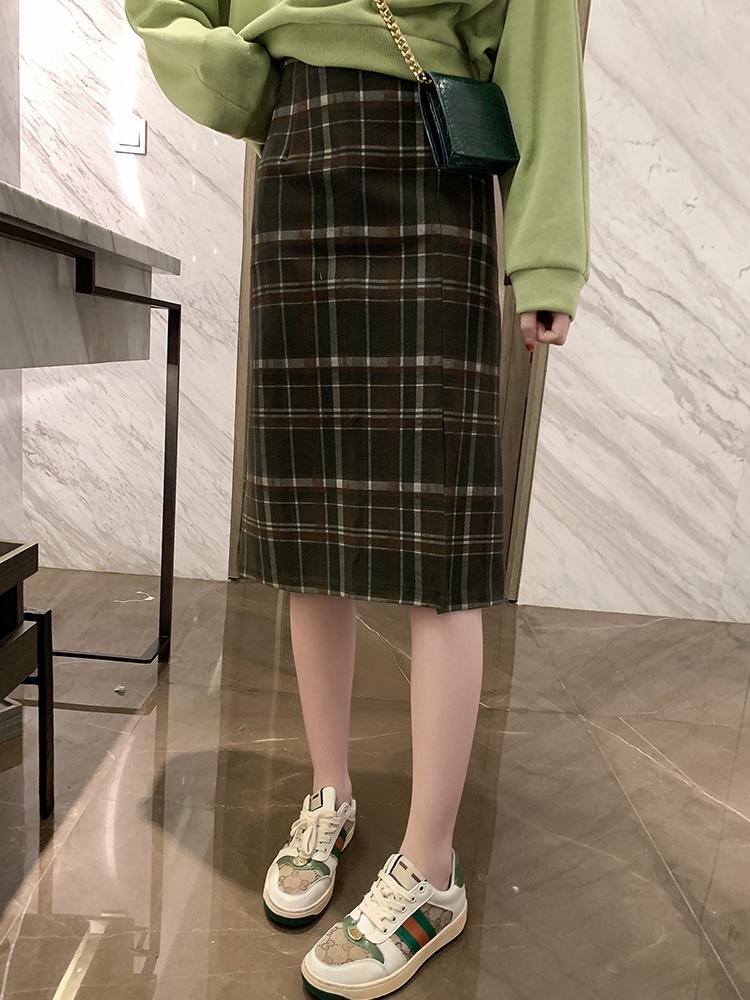英倫風高腰蘇格拉格子半身裙中長款開叉包臀裙秋季2019新款一步裙