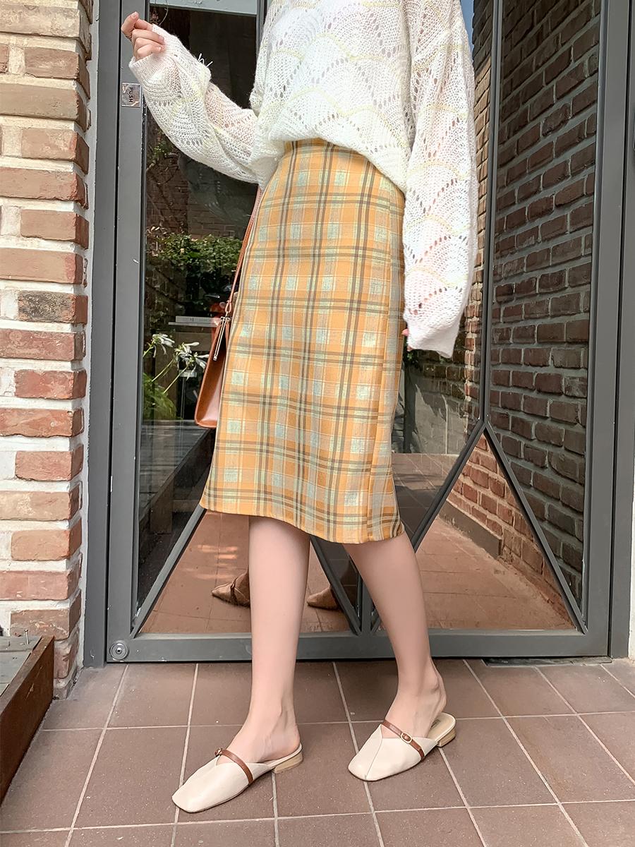 時尚格子半身裙2019秋季新款修身中長款A字裙學生復古裙子