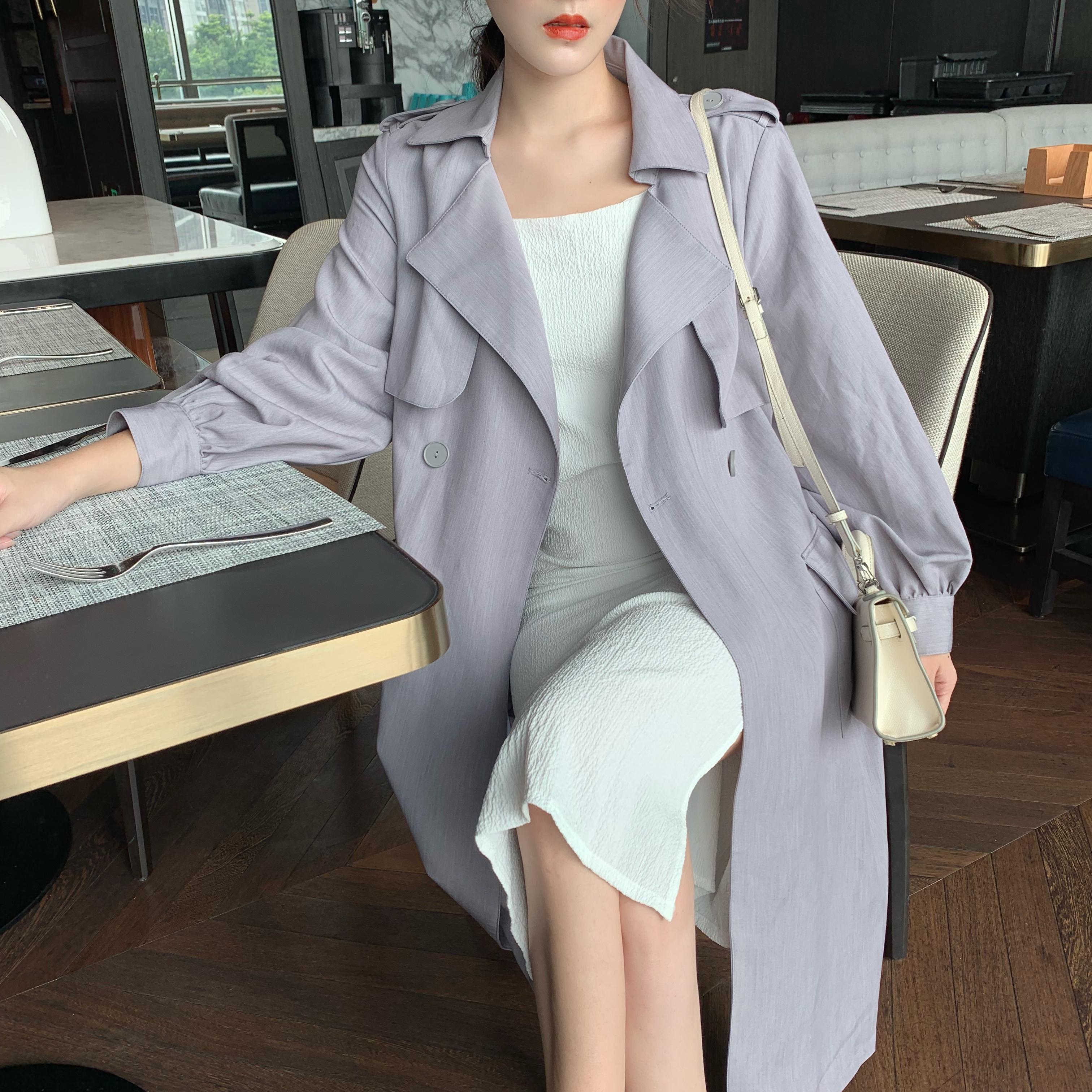 實拍實價2019秋冬新款女裝灰紫色風衣寬松流行英倫風中長款外套
