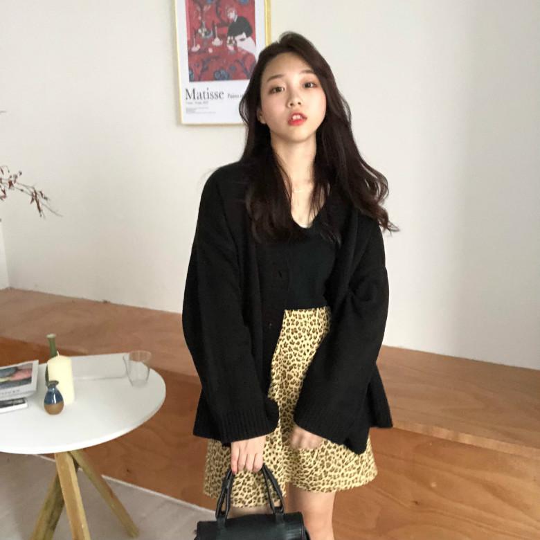 實拍實價 韓系百搭V領紐扣針織開衫女純色寬松毛衣外套已質檢