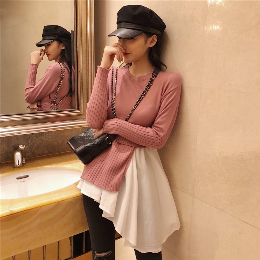 實拍實價 秋冬款chic假兩件黑白拼接針織衫不規則長袖毛衣上衣