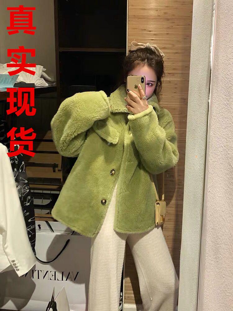 林珊珊澳洲羊毛皮毛一體皮草廓形外套保暖牛油果綠上衣