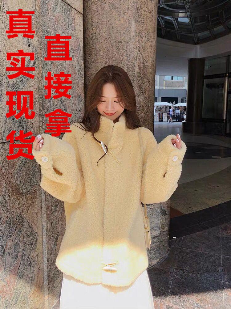林珊珊國風牛角扣顆粒毛呢外套女中長款2019流行小個子秋冬季大衣