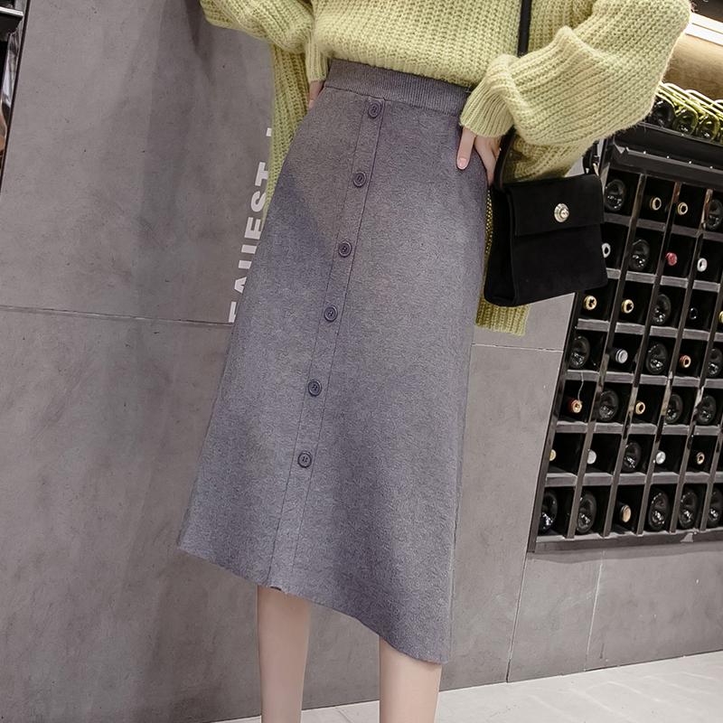 2019秋季新款一排扣針織半身裙女中長款a字開叉高腰顯瘦包臀裙子