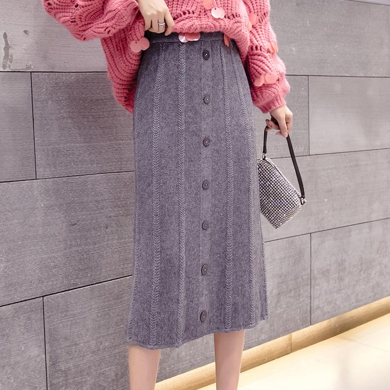 加厚針織半身裙女中長款2019秋冬新款顯瘦包臀裙復古高腰直筒裙