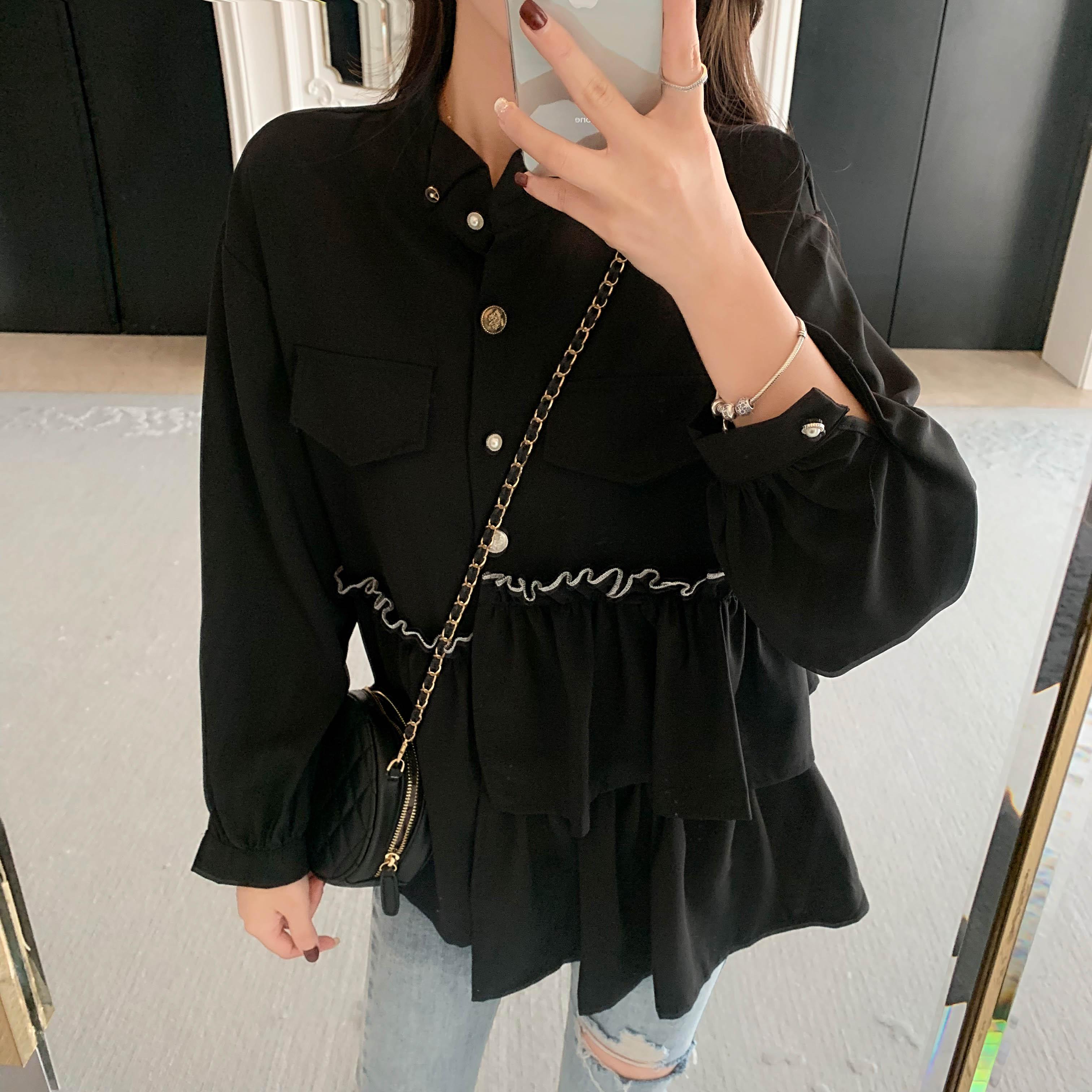 實拍實價2019秋季新款韓版復古黑色襯衫女長袖荷葉邊不規則復古