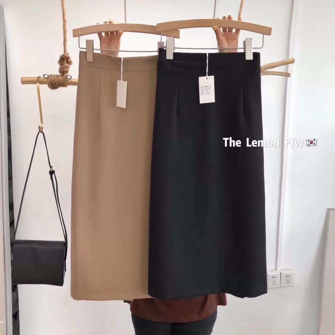 the lemon檸檬綠茶韓版時尚顯瘦西裝半身裙百搭高腰修身中長裙女